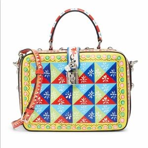 printed leather soft box dolce and gabbana multi